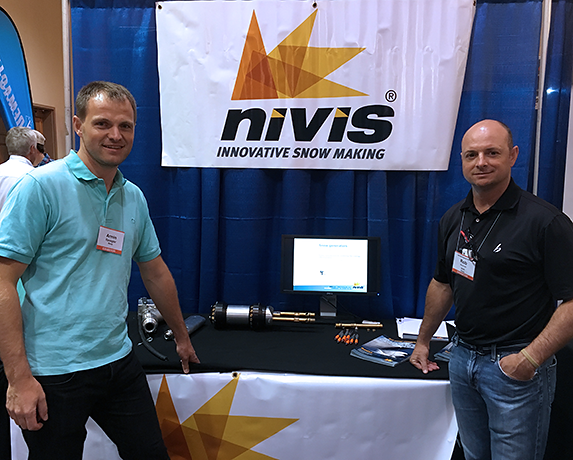 Armin Spoegler came all the way from Italy to join Rob Donovan at the trade show and help familiarize attendees about Nivis snow guns.