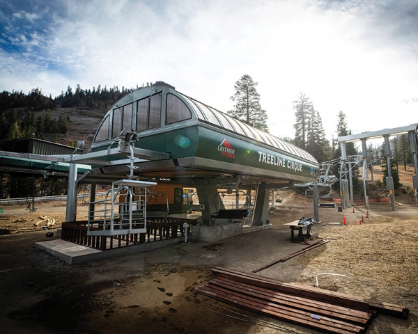 Leitner-Poma engineered a double-grooved bullwheel to transfer torque between two sections at an angle station for Alpine Meadows' new Treeline Cirque detachable quad.