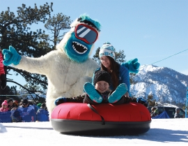 The Yeti's Snow Parks namesake mascot poses for a photo op at the new tubing hill built at the seldom-used East Resort as part of the new, multi-activity snow play area there.