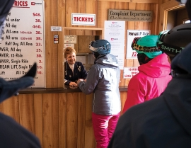 Guests purchase tickets at Beaver Mountain, Utah.