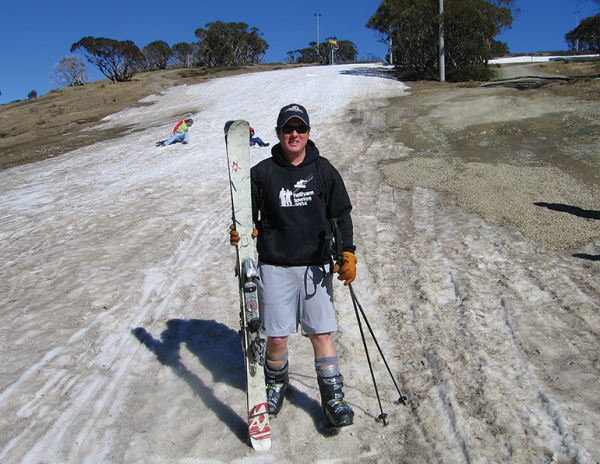 Andrew Snow at Hotham Resort in Australia during the low-snow year of 2006.